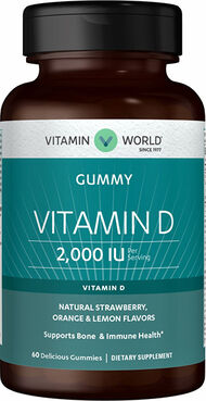 Vitamin World Sunvite Vitamin D 2000 IU 60 Gummies Strawberry, orange and lemon