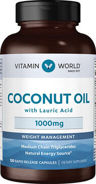 Vitamin World Coconut Oil 1,000mg 120 Softgels 1000mg.