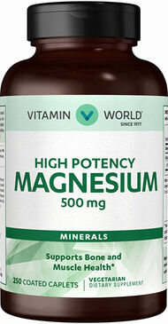 Vitamin World Magnesium 500 mg. 250 Caplets 500mg