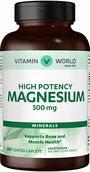 Vitamin World Magnesium 500 mg. 250 Caplets 500mg.