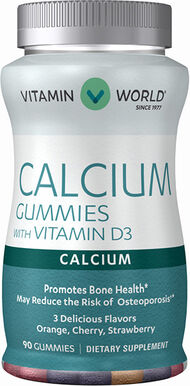Vitamin World Calcium Gummies with Vitamin D3 600 mg. 90 Gummies Peach, Banana, Cherry