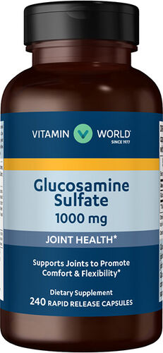 Vitamin World Glucosamine Sulfate 1,000mg 240 Capsules 1000mg.