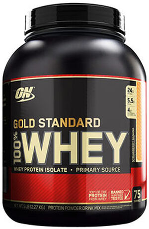 Gold Standard 100% Whey Protein Strawberry Banana 5 lbs., , hi-res