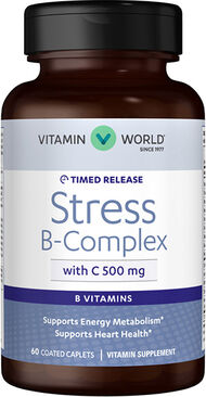 Vitamin World Stress B-Complex with 500 mg. Vitamin C Timed Release 60 Caplets 500mg.