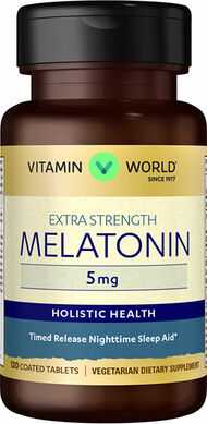 Vitamin World Melatonin 5 mg Timed Release 5 mg. 120 Tablets