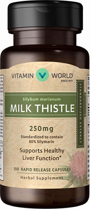 Vitamin World Milk Thistle (Silymarin) Standardized Extract 250mg 100 Capsules 250mg.