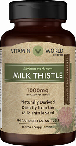 Vitamin World Milk Thistle 1000mg - 180 Rapid Release Softgels