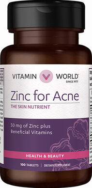Vitamin World Zinc for Acne 100 Tablets