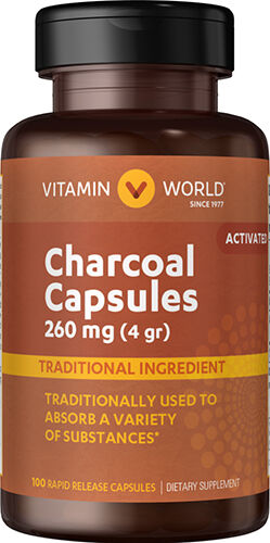 Vitamin World Charcoal Capsules (Activated) 260mg 260 mg. 100 Capsules