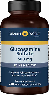 Vitamin World Glucosamine Sulfate 500 mg. 240 Capsules