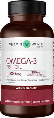 Vitamin World Omega-3 Fish Oil 1000 mg. 250 Softgels 1000mg.