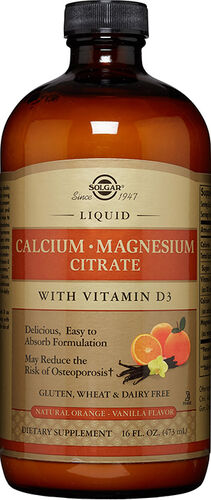 Solgar Liquid Calcium Magnesium Citrate with Vitamin D3 Orange-Vanilla 16 oz. Liquid .5OZ