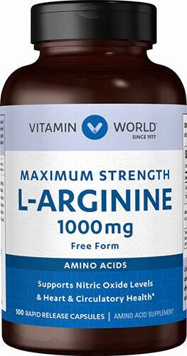 Vitamin World L-Arginine 1000 mg Caps 100 Capsules 1000mg.