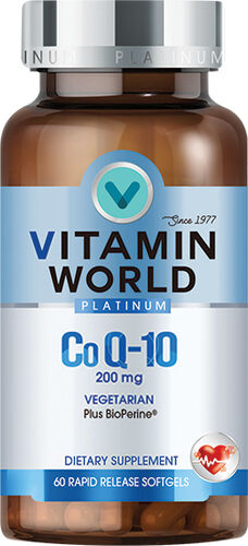 Vitamin World® Platinum Co Q-10 200 mg. 60 Softgels 200mg.