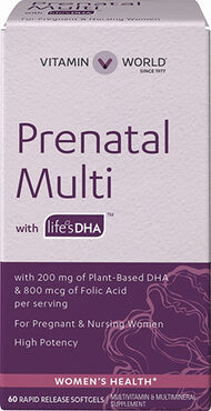 Vitamin World Prenatal Multivitamins with DHA 200 mg. 60 Softgels