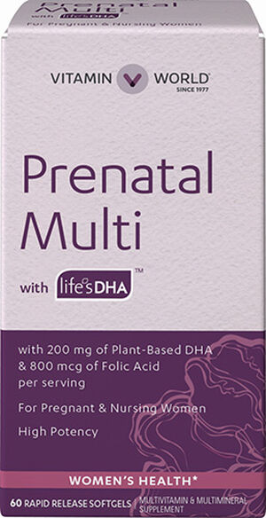 Vitamin World Prenatal Multivitamins with DHA 200 mg. 60 Softgels 200mg.