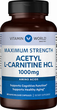Vitamin World Acetyl L-Carnitine 1000 mg. 60 Capsules