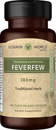 Vitamin World Feverfew 380 mg. 100 Capsules