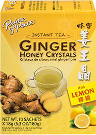 Prince of Peace Ginger Honey Crystals with Lemon Instant Tea 10 Tea Bags