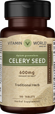 Vitamin World Celery Seed 600 mg. 100 Tablets
