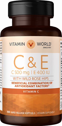 Vitamin World Vitamins C & E with Rose Hips 100 Softgels