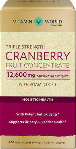 Vitamin World Triple Strength Cranberry Fruit Concentrate 12600 mg. 200 Softgels 12600mg.