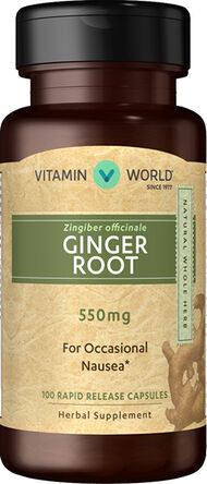 Vitamin World Ginger Root 550 mg. 100 Capsules