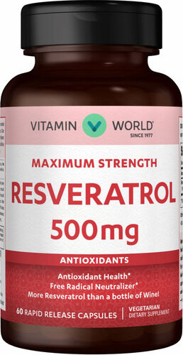 Vitamin World Resveratrol 500 mg. 60 Capsules