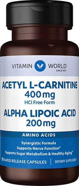 Acetyl L-Carnitine 400 mg. & Alpha Lipoic Acid 200 mg.
