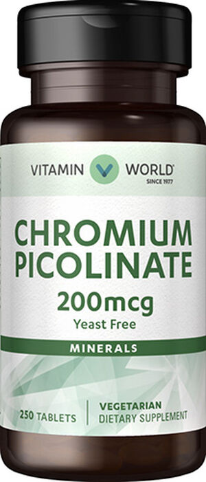Vitamin World Chromium Picolinate 200 mcg. 250 Tablets