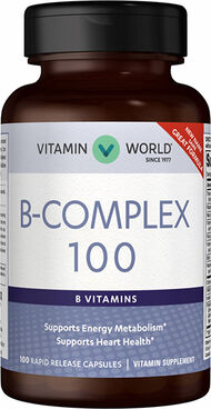 Vitamin World Mega B-100® Complex 100 mg. 100 Capsules