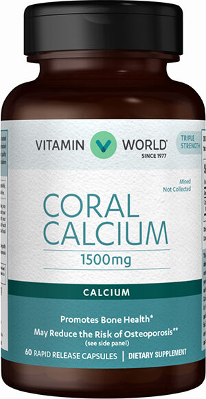 Vitamin World Coral Calcium 1500 mg. 60 Capsules 1500mg.