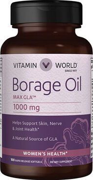 Vitamin World Borage Oil 1000 mg. 100 Softgels
