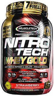 Nitro Tech™ 100% Whey Protein Gold Strawberry 2.5 lbs.