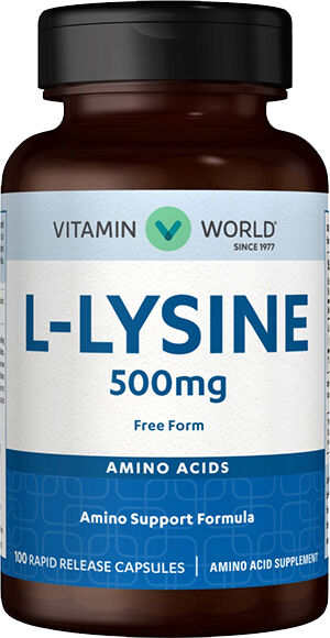 Vitamin World L-Lysine 500 mg. 100 Capsules