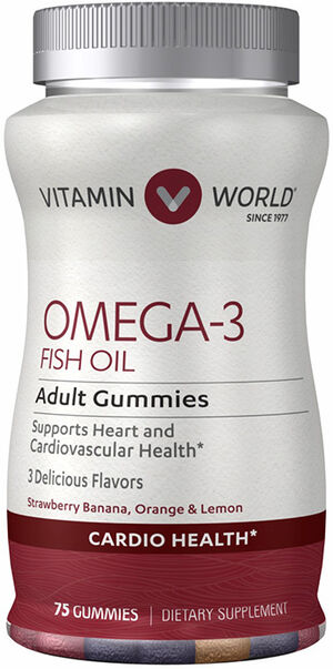 Vitamin World Omega-3 Fish Oil plus Vitamin D3 75 Gummies Strawberry Banana, Orange, Lemon