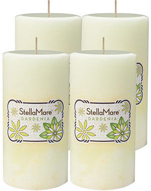 "Gardenia Scented Pillar Candles 3"" x 6"", , hi-res"