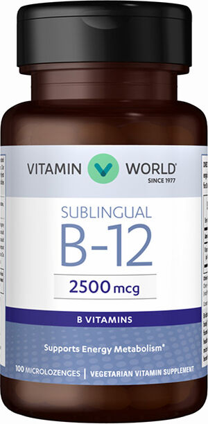 Vitamin World Vitamin B-12 2500 mcg. Sublingual 100 Microlozenges