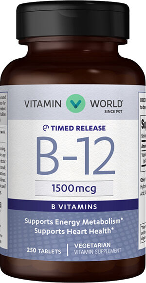 Vitamin World Vitamin B-12 1500 mcg. Timed Release 250 Tablets
