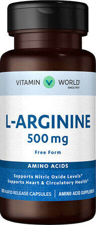 Vitamin World L-Arginine 500 mg. 100 Capsules