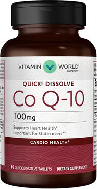 Vitamin World Co Q-10 100mg Quick Dissolve 100 mg. 60 Tablets