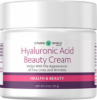 Vitamin World Hyaluronic Acid Beauty Cream 4 oz. Cream