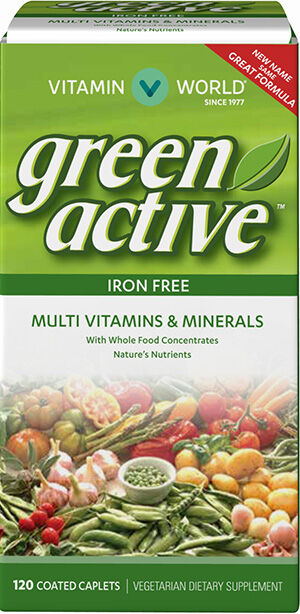 Vitamin World Green Active Multivitamins and Minerals Iron Free 120 Caplets