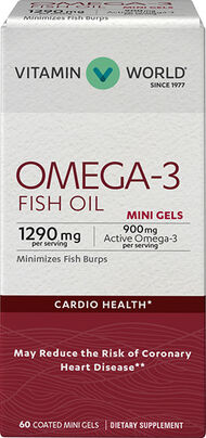 Vitamin World Omega-3 Fish Oil Premium Coated Mini Gels 900mg 60 Softgels 900mg.