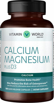 Vitamin World Calcium Magnesium Plus Vitamin D3 100 Capsules