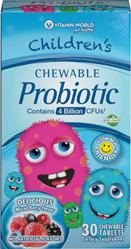 Vitamin World Children's Chewable Probiotic 8 mg. 30 Tablets Mixed Berry