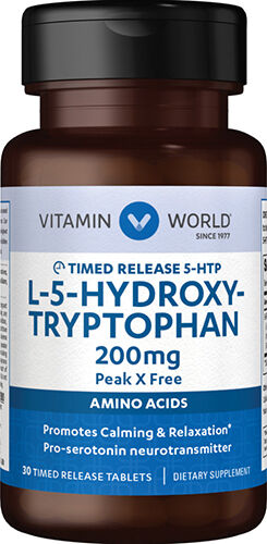 Vitamin World 5-HTP Time Released 200mg. 30 Tablets