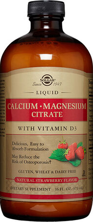Solgar Liquid Calcium Magnesium Citrate with Vitamin D3 Strawberry 16 oz. Liquid