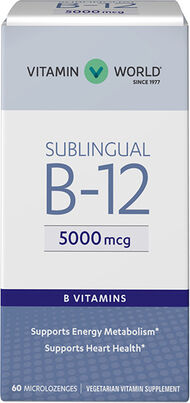 Vitamin B-12 5000 mcg. Sublingual 60 Microlozenges Vitamin World Vitamin B-12 5000 mcg. Sublingual 60 Microlozenges