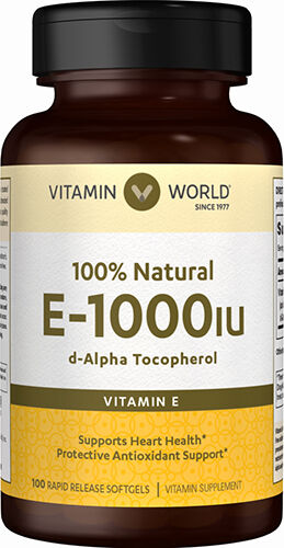 Vitamin World Vitamin E 1000 IU 100% Natural 100 Softgels